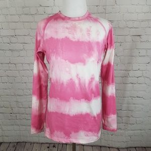 Nike Dri Fit Fitted Pink & White Tie Dye Print Top